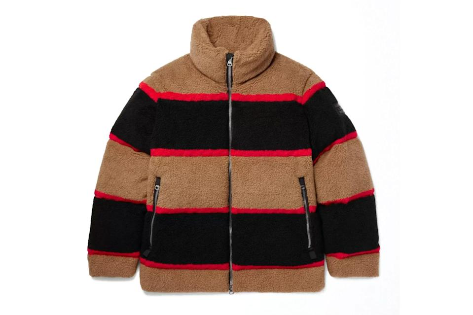 "$1720, Mr. Porter. <a href=""https://www.mrporter.com/en-us/mens/product/burberry/clothing/winter-coats/bradfield-logo-appliqued-striped-fleece-down-jacket/2009602985243"" rel=""nofollow noopener"" target=""_blank"" data-ylk=""slk:Get it now!"" class=""link rapid-noclick-resp"">Get it now!</a>"