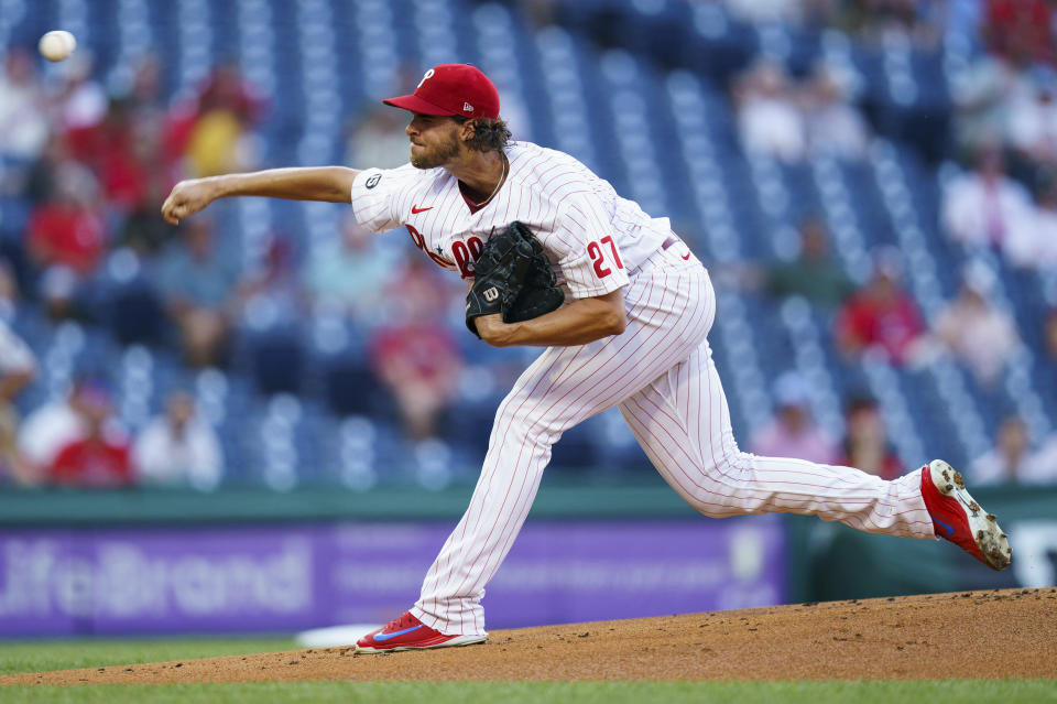Philadelphia Phillies starting pitcher Aaron Nola in action during a baseball game against the Miami Marlins, Wednesday, June 30, 2021, in Philadelphia. (AP Photo/Chris Szagola)