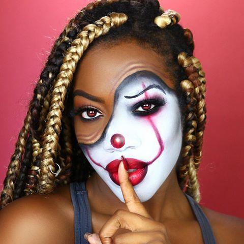 """<p>This clown makeup counts as cute because one side is scary, yes, but the other half is pretty, everyday makeup. <strong>Start by doing your regular makeup on one side of your face,</strong> then using a <a href=""""https://www.cosmopolitan.com/style-beauty/beauty/g19620718/best-makeup-remover/"""" rel=""""nofollow noopener"""" target=""""_blank"""" data-ylk=""""slk:makeup remover"""" class=""""link rapid-noclick-resp"""">makeup remover</a> to carve out the section that you want to create your clown makeup on. Trace the line with <a href=""""https://www.amazon.com/COVERGIRL-Perfect-Eyeliner-Blending-Precise/dp/B00CLASIBU/?tag=syn-yahoo-20&ascsubtag=%5Bartid%7C10049.g.33247158%5Bsrc%7Cyahoo-us"""" rel=""""nofollow noopener"""" target=""""_blank"""" data-ylk=""""slk:black eyeliner"""" class=""""link rapid-noclick-resp"""">black eyeliner</a> to set the two sections apart, then use <a href=""""https://www.amazon.com/Mehron-Makeup-Clown-White-Professional/dp/B002KV7F7S?tag=syn-yahoo-20&ascsubtag=%5Bartid%7C10049.g.33247158%5Bsrc%7Cyahoo-us"""" rel=""""nofollow noopener"""" target=""""_blank"""" data-ylk=""""slk:white face paint"""" class=""""link rapid-noclick-resp"""">white face paint</a> and red <a href=""""https://www.cosmopolitan.com/style-beauty/beauty/g9209102/best-lip-liners/"""" rel=""""nofollow noopener"""" target=""""_blank"""" data-ylk=""""slk:lip liner"""" class=""""link rapid-noclick-resp"""">lip liner</a> to complete the clown look.</p><p><a href=""""https://www.instagram.com/p/B3FQu59pQV7/?utm_source=ig_embed&utm_campaign=loading"""" rel=""""nofollow noopener"""" target=""""_blank"""" data-ylk=""""slk:See the original post on Instagram"""" class=""""link rapid-noclick-resp"""">See the original post on Instagram</a></p>"""