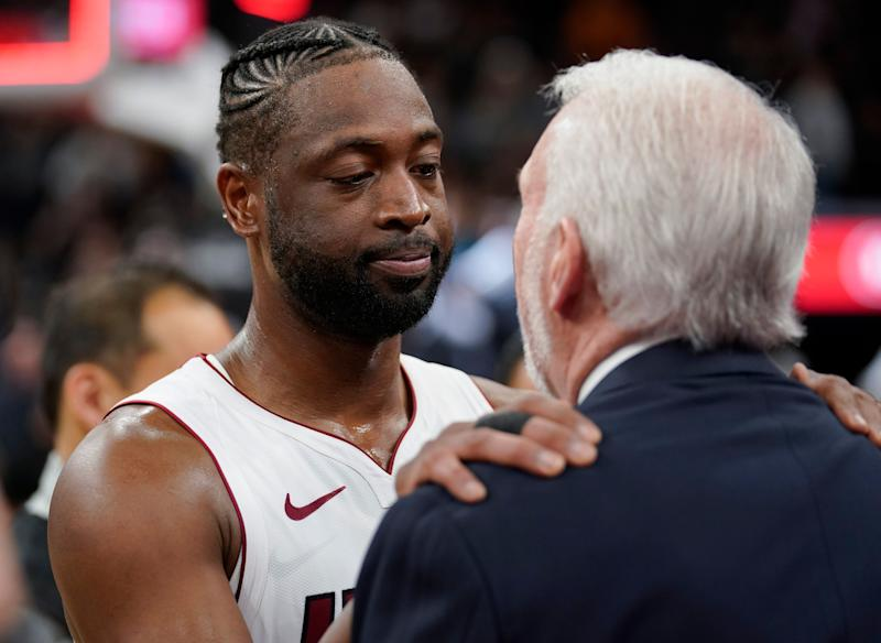 The Dwyane Wade farewell tour saw another successful entry Wednesday night replete with gifts, a video tribute and a big shot in a win over the Spurs. (AP)