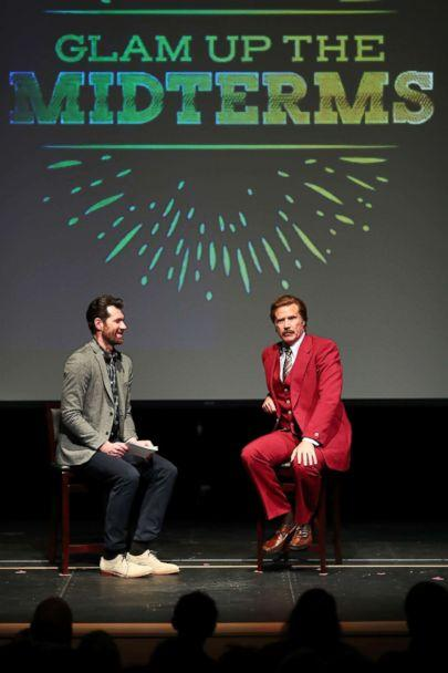 PHOTO: Billy Eichner and Ron Burgundy (Will Ferrell) 'Glam Up The Midterms' at Oceanside High School Performing Arts Center, a non-partisan campaign to encourage and energize young people to vote, April 12, 2018, in Oceanside, Calif. (Joe Scarnici/Getty Images for Funny or Die)