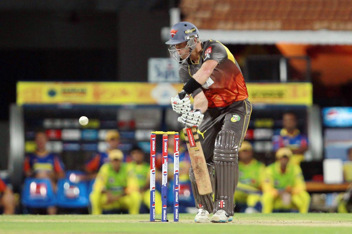 Cameron White edges a delivery to lose his wicket off the bowling of Mohit Sharma during match 34 of the Pepsi Indian Premier League between The Chennai Super Kings and the Sunrisers Hyderabad held at the MA Chidambaram Stadium in Chennai on the 25th April 2013. (BCCI)
