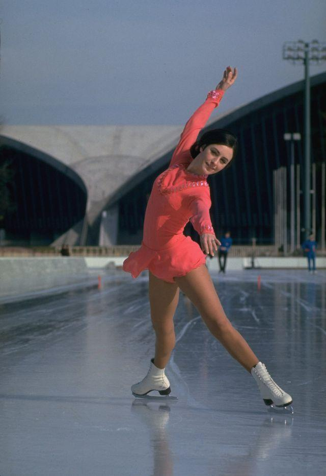 FRANCE - FEBRUARY 05: Figure Skating: 1968 Winter Olympics, Portrait of USA Peggy Fleming in action during practice, Grenoble, FRA 2/5/1968 (Photo by John G. Zimmerman/Sports Illustrated/Getty Images) (SetNumber: X12984)