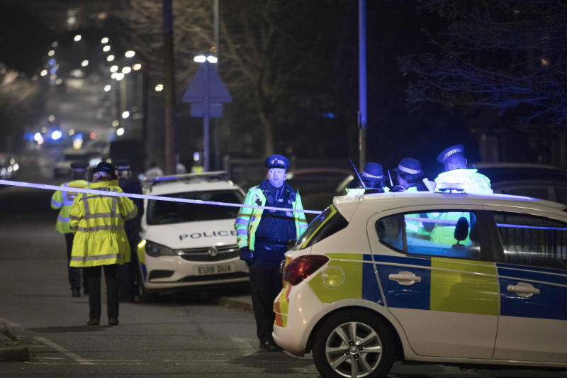 Pictured is the scene near Debden Park High School, in Loughton, Essex, after a 12-year-old boy was killed when a car crashed into children. Source: AAP