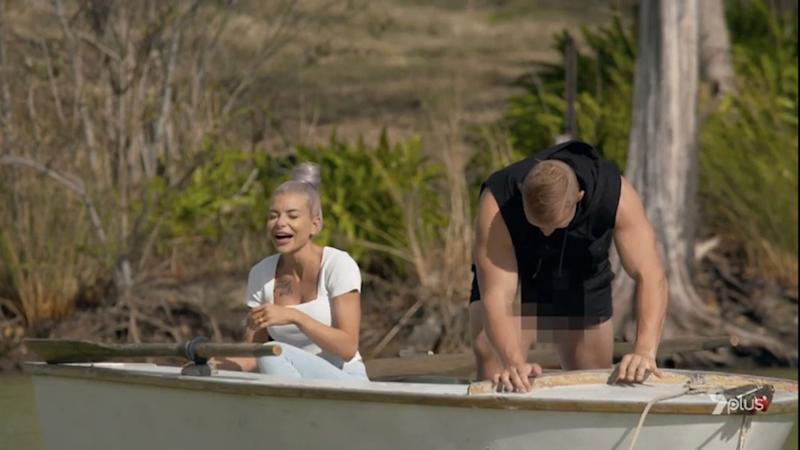 Nathan suffered the gaffe during an otherwise romantic boat ride. Photo: Channel 7