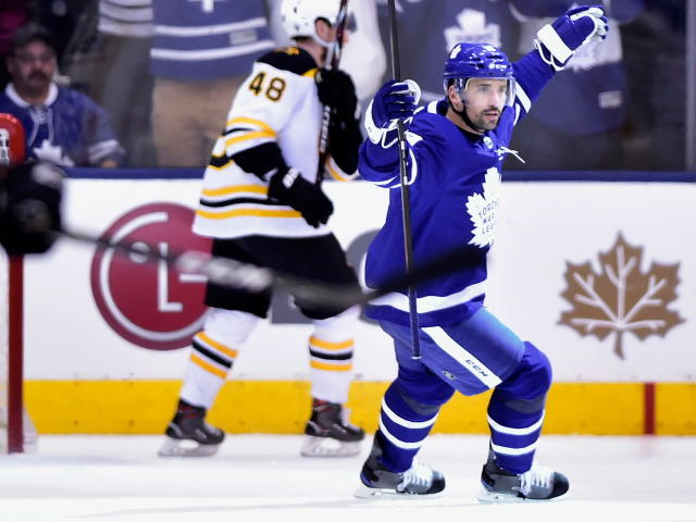 Toronto Maple Leafs centre Tomas Plekanec (19) celebrates his empty net goal during the third period of game six of an NHL round one playoff hockey game in Toronto on Monday, April 23, 2018. (Frank Gunn/The Canadian Press via AP)
