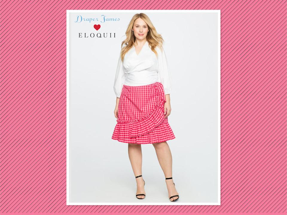 "<p>Draper James for Eloquii gingham skirt, $99, <a href=""http://www.eloquii.com/draper-james-for-eloquii-gingham-skirt/1196056.html?cgid=draper-james&start=9&dwvar_1196056_colorCode=23"" rel=""nofollow noopener"" target=""_blank"" data-ylk=""slk:Eloquii"" class=""link rapid-noclick-resp"">Eloquii</a> (Photo: Eloquii) </p>"