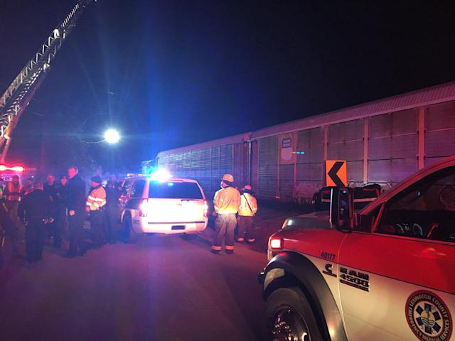 <p>Emergency crews attend to the site of a train collision near Pine Ridge, Lexington County, South Carolina, on Feb. 4, 2018 in this image obtained from social media. (Photo: County of Lexington via Reuters) </p>