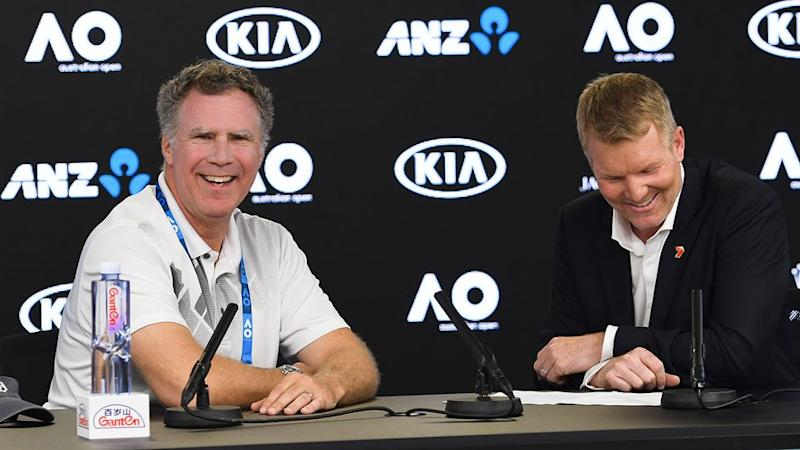 Ferrell revealed his 'retirement' plans to Courier. Pic: Australian Open
