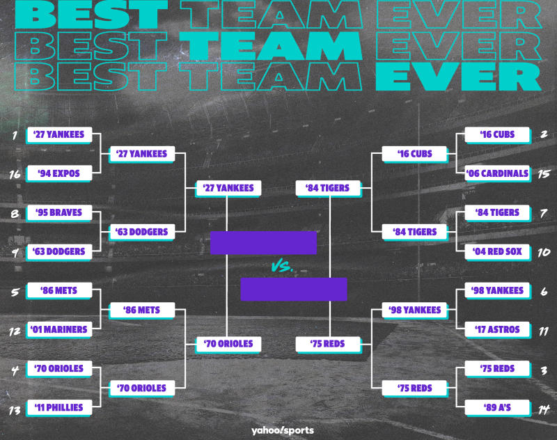 Best Teams Ever bracket: MLB edition, Final Four. (Yahoo Sports illustration)