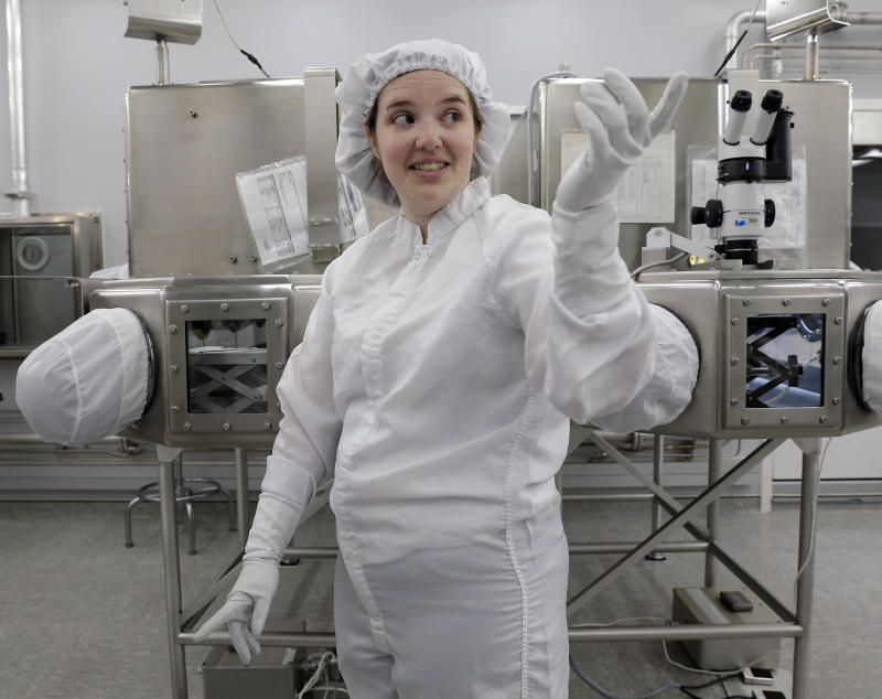 Lacey Costello, Apollo sample curation processor, talks about her job examining lunar samples inside the lunar lab at the NASA Johnson Space Center Monday, June 17, 2019, in Houston. (Photo: Michael Wyke/AP)