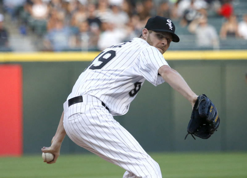 Chicago White Sox starting pitcher Chris Sale delivers during the first inning of a baseball game against the Detroit Tigers, Monday, July 22, 2013, in Chicago. (AP Photo/Charles Rex Arbogast)