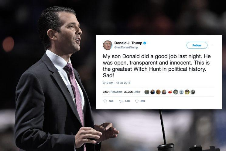 Donald Trump Jr. (Yahoo News photo illustration; photos: Mark J. Terrill/AP, Donald J. Trump via Twitter)