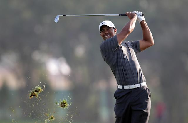 ABU DHABI, UNITED ARAB EMIRATES - JANUARY 28: Tiger Woods of the USA in action during the third round of Abu Dhabi HSBC Golf Championship at the Abu Dhabi HSBC Golf Championship on January 28, 2012 in Abu Dhabi, United Arab Emirates. (Photo by Ross Kinnaird/Getty Images)