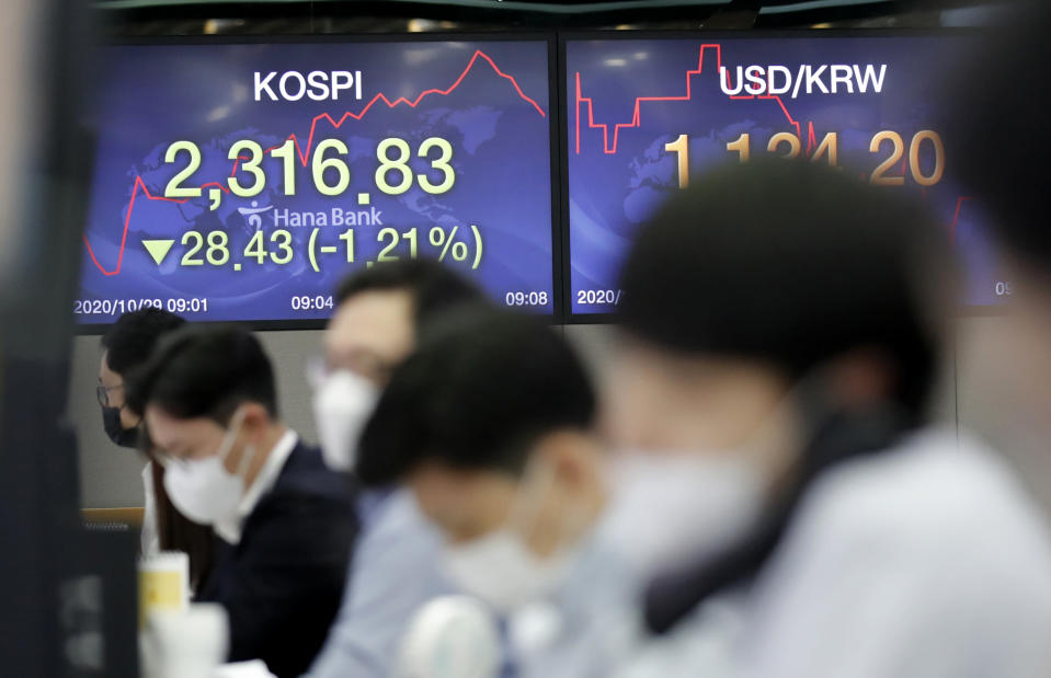 Currency traders watch computer monitors near the screens showing the Korea Composite Stock Price Index (KOSPI), left, and the foreign exchange rate between U.S. dollar and South Korean won at the foreign exchange dealing room in Seoul, South Korea, Thursday, Oct. 29, 2020. (AP Photo/Lee Jin-man)