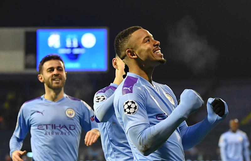 ZAGREB, CROATIA - DECEMBER 11: Gabriel Jesus of Manchester City celebrates after scoring his team's second goal during the UEFA Champions League group C match between Dinamo Zagreb and Manchester City at Maksimir Stadium on December 11, 2019 in Zagreb, Croatia. (Photo by Dan Mullan/Getty Images)