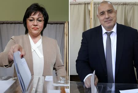 A combination picture shows Ninova, leader of the Bulgarian Socialist party and Borisov, leader of centre-right GERB party voting in Sofia