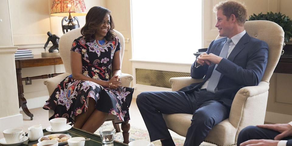 <p>Michelle Obama meets with Prince Harry at Kensington Palace.</p>