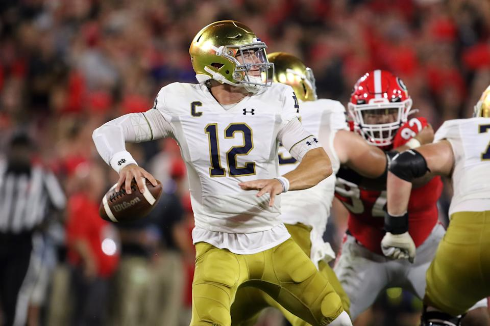 ATHENS, GA - SEPTEMBER 21: Notre Dame Fighting Irish quarterback Ian Book (12) throws downfield in the game between the Georgia Bulldogs and the Notre Dame Fighting Irish on September 21, 2019 at Sanford Stadium in Athens, Georgia. (Photo by Michael Wade/Icon Sportswire via Getty Images)