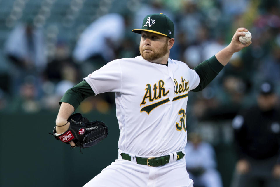 Oakland Athletics starting pitcher Brett Anderson throws against a Los Angeles Angels batter in the first inning of a baseball game, Saturday, March 30, 2019 in Oakland, Calif. (AP Photo/John Hefti)