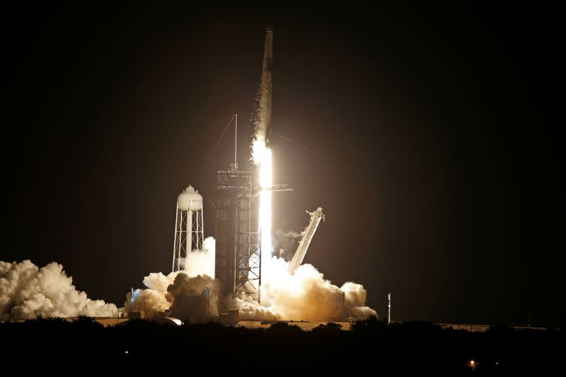 A SpaceX Falcon 9 rocket with the Crew Dragon capsule lifts off from Pad 39A on the Inspiration 4 civilian crew mission at the Kennedy Space Center in Cape Canaveral