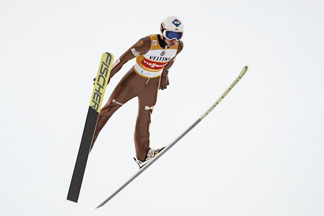 Lahti Ski Games - FIS Nordic World Cup - Men's Ski Jumping - Lahti, Finland - March 4, 2018. Kamil Stoch of Poland competes. LEHTIKUVA/Roni Rekomaa via REUTERS ATTENTION EDITORS - THIS IMAGE WAS PROVIDED BY A THIRD PARTY. NO THIRD PARTY SALES. NOT FOR USE BY REUTERS THIRD PARTY DISTRIBUTORS. FINLAND OUT. NO COMMERCIAL OR EDITORIAL SALES IN FINLAND.