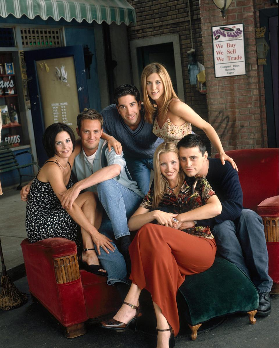 "The six original cast members pictured at the ""Central Perk"" coffee shop (Photo: NBC via Getty Images)"