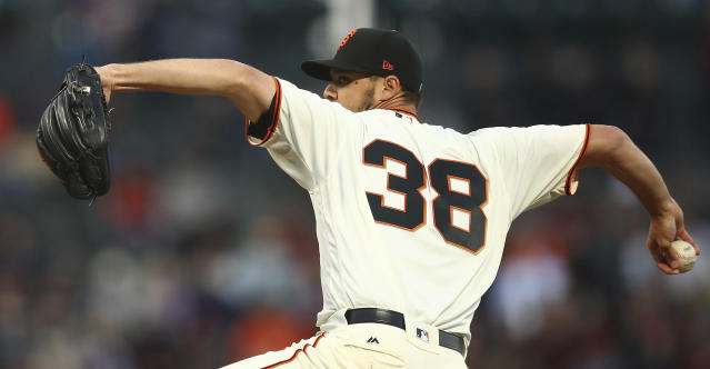 San Francisco Giants pitcher Tyler Beede works against the Arizona Diamondbacks in the first inning of a baseball game Tuesday, April 10, 2018, in San Francisco. (AP Photo/Ben Margot)
