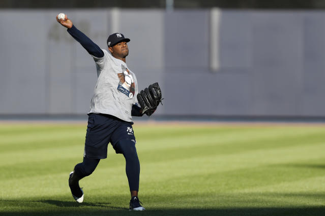 New York Yankees starting pitcher Luis Severino throws on an empty field, Monday, Oct. 14, 2019, at Yankee Stadium in New York on an off day during the American League Championship Series between the Yankees and the Houston Astros. Severino is scheduled to face Astros ace Gerrit Cole in Game 3 Tuesday afternoon in New York. (AP Photo/Kathy Willens)