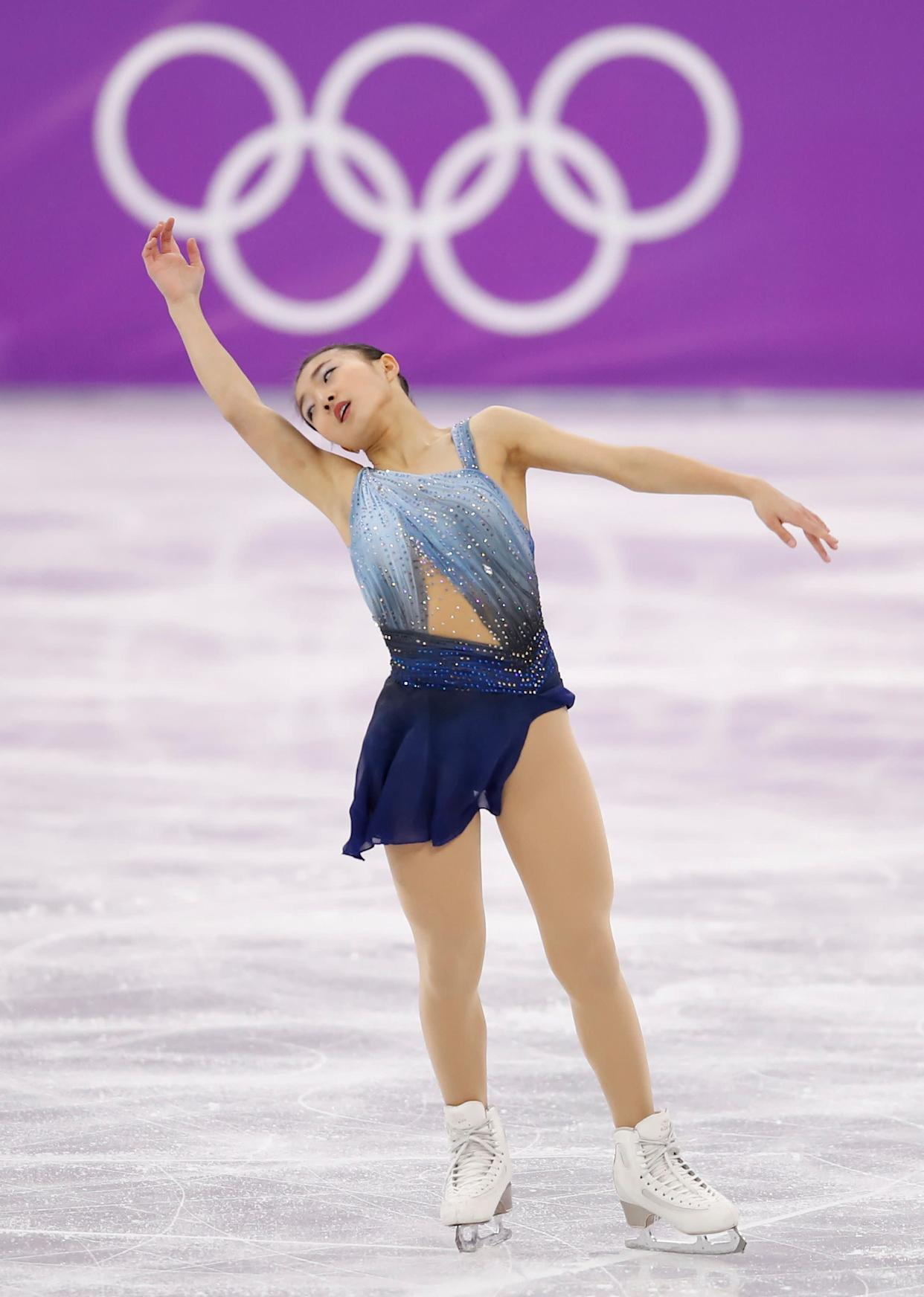 """Japan's Sakamoto wore this lovely blue costume for the ladies single short program earlier this week. It's giving us some <a href=""""https://www.vogue.com/fashion-shows/spring-2008-ready-to-wear/rodarte/slideshow/collection#35"""" rel=""""nofollow noopener"""" target=""""_blank"""" data-ylk=""""slk:Rodarte"""" class=""""link rapid-noclick-resp"""">Rodarte</a>&nbsp;<a href=""""https://www.vogue.com/fashion-shows/fall-2008-ready-to-wear/rodarte/slideshow/collection#11"""" rel=""""nofollow noopener"""" target=""""_blank"""" data-ylk=""""slk:vibes"""" class=""""link rapid-noclick-resp"""">vibes</a>, and we're here for it."""