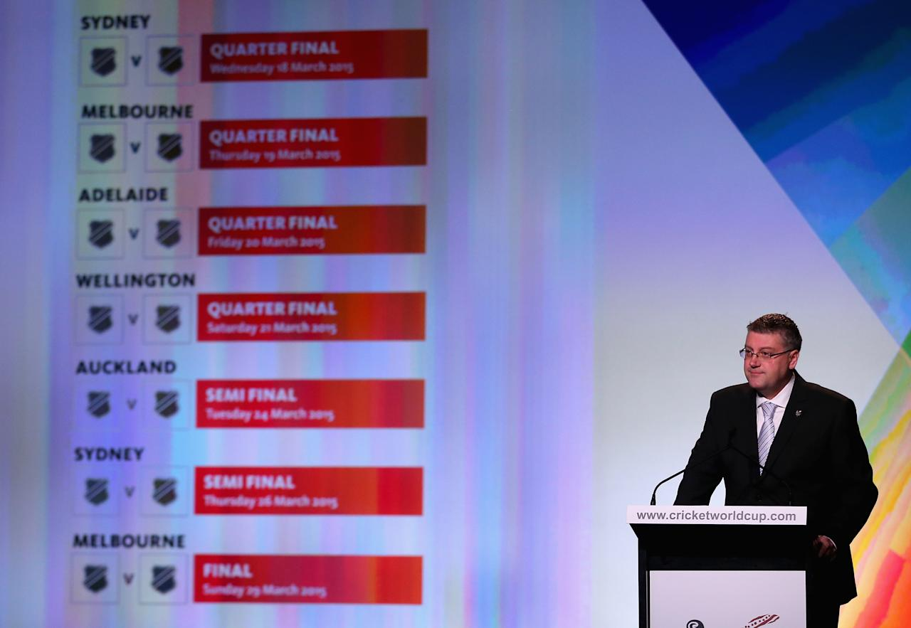 MELBOURNE, AUSTRALIA - JULY 30:  John Harnden, CEO, ICC Cricket World Cup 2015 announces the venues for the finals during the Official Launch of the ICC Cricket World Cup 2015 on July 30, 2013 in Melbourne, Australia.  (Photo by Scott Barbour/Getty Images)