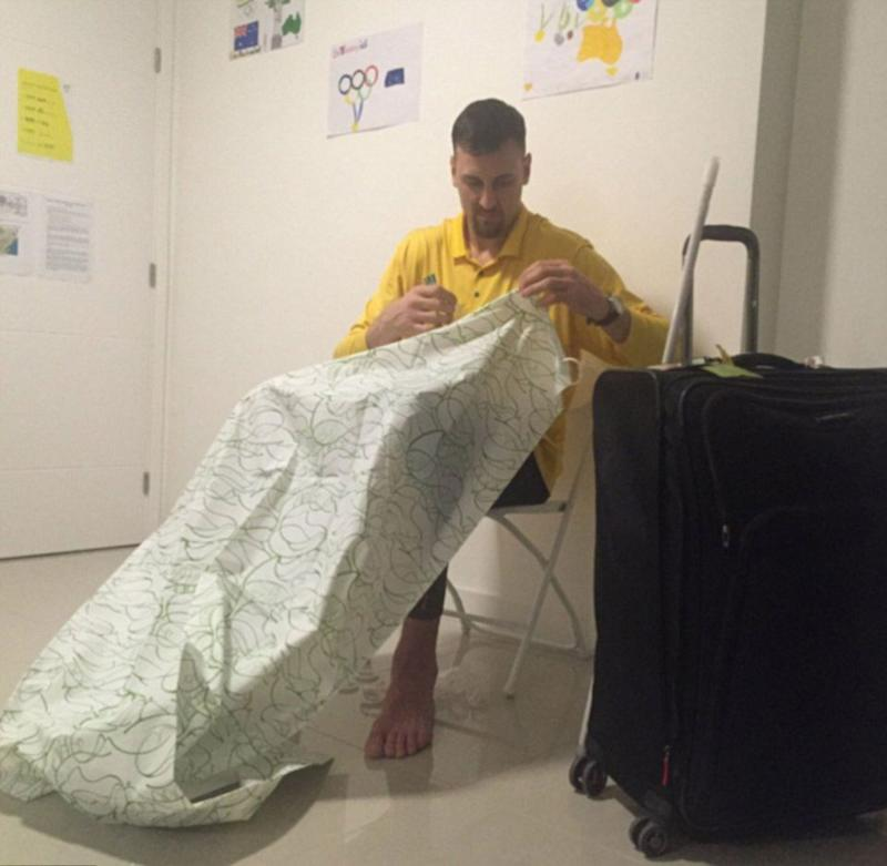 Wealthy Australian athlete Andrew Bogut assembles his own stuff at the Olympics. Source: Twitter