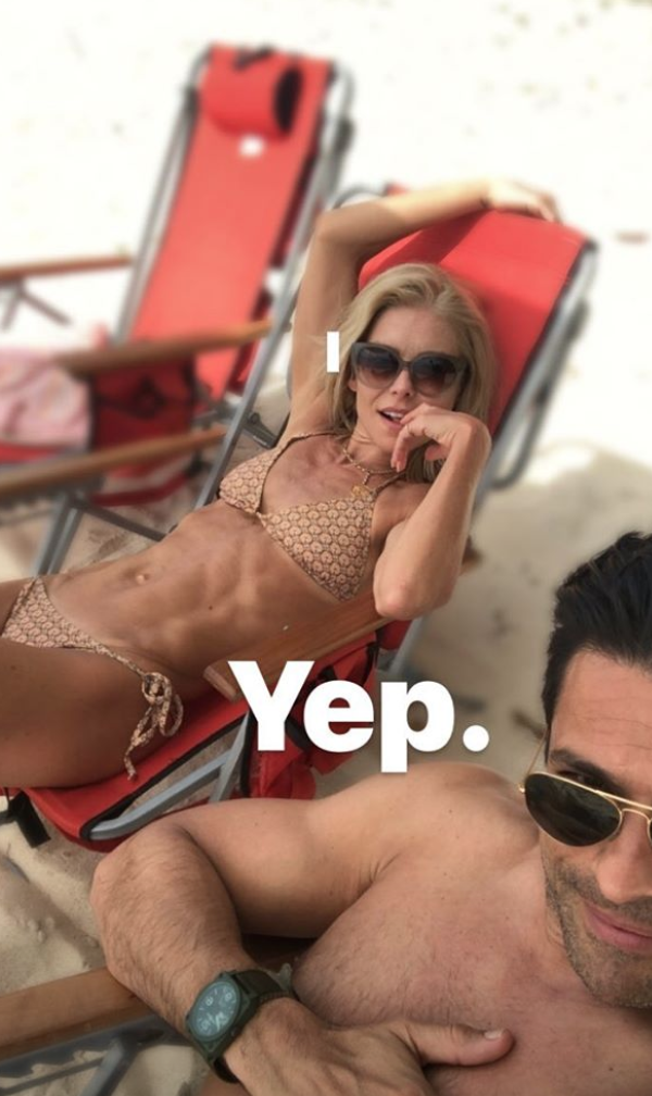 The longtime couple bared their bods on the beach. (Photo: Via Mark Consuelos Instagram Stories)