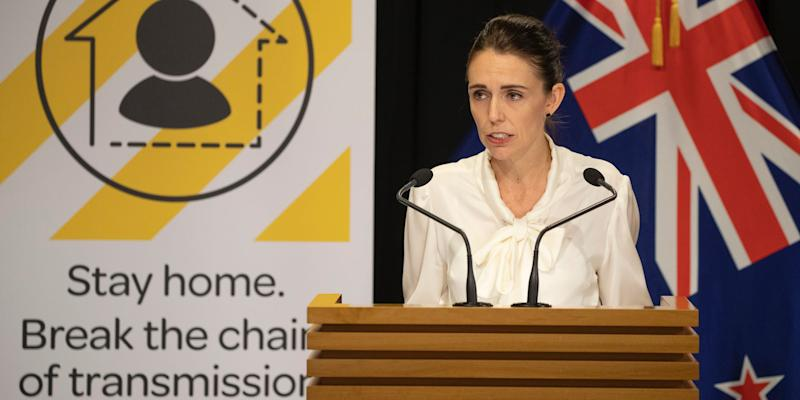 Prime Minister Jacinda Ardern during her post-Cabinet and Covid-19 coronavirus media update in the Beehive Theatrette, Parliament, on March 30, 2020 in Wellington, New Zealand.