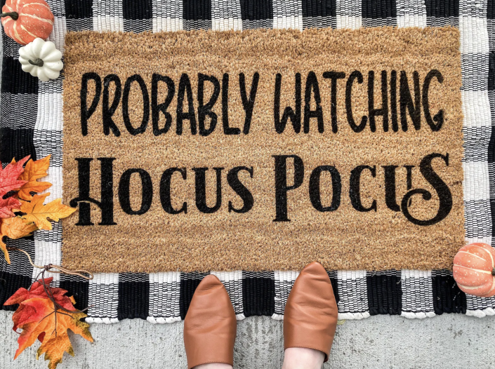 Probably Watching Hocus Pocus Doormat over black and white checkered mat