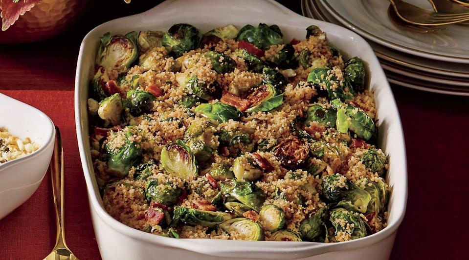 """<p>Thanksgiving is the perfect time to try out this casserole, but we love it for a regular weeknight as well. This dish is best with small, compact <a href=""""https://www.myrecipes.com/course/side-dish-recipes/best-brussels-sprouts-recipes"""" rel=""""nofollow noopener"""" target=""""_blank"""" data-ylk=""""slk:Brussels sprouts"""" class=""""link rapid-noclick-resp"""">Brussels sprouts</a> because they have a milder flavor than the large, leafy ones.</p>"""