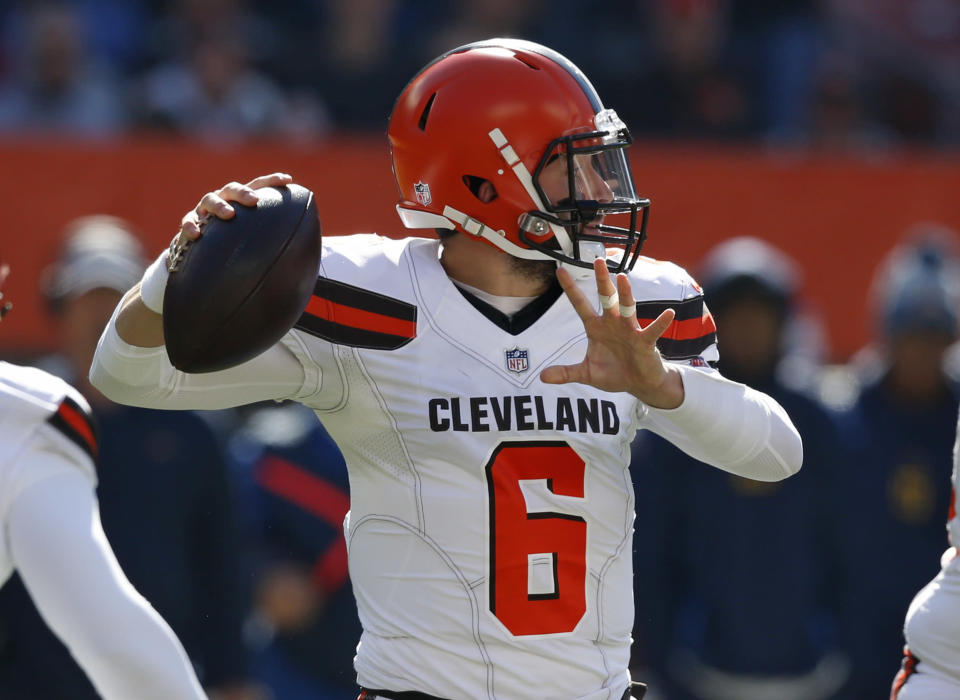 Baker Mayfield is about to face the easiest imaginable four-game stretch, which makes him plenty appealing in our game. (AP Photo/Ron Schwane)