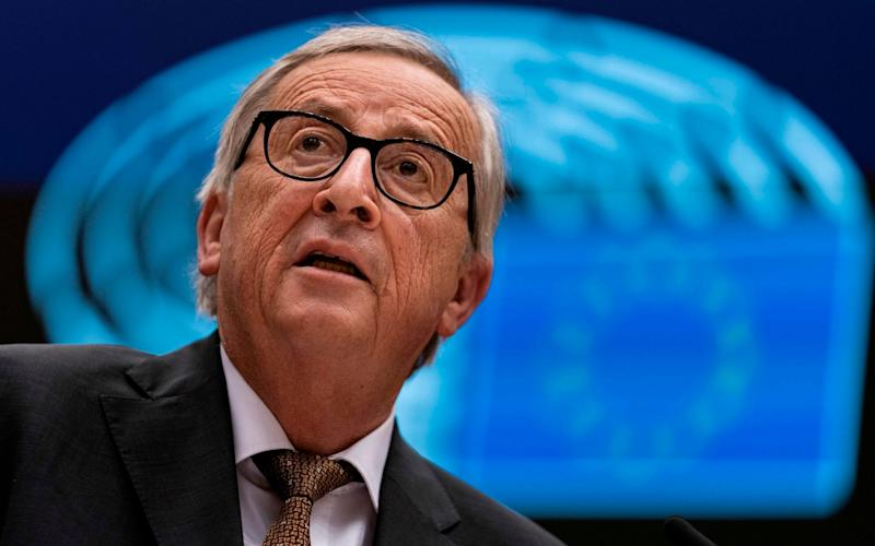 President of the European Commission Jean-Claude Juncker delivers a speech during a plenary session at European Parliament in Brussels - AFP