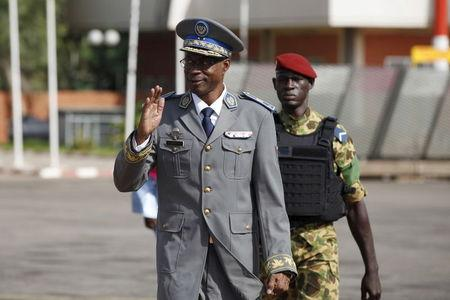 Burkina Faso coup leader General Gilbert Diendere arrives at the airport to greet foreign heads of state in Ouagadougou
