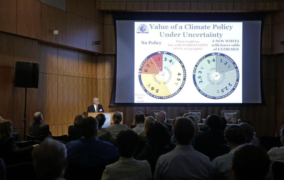 FILE - In this Oct. 27, 2015, file photo, Nobel laureate Mario Molina speaks at Carbon Neutrality Initiative on the campus of the University of California-San Diego. The Nobel Prizes starting Monday, Oct. 5, 2020, show how slow basic science pays off, even though everyone wants quick fixes to global problems. As for fixing climate change, Molina has hope that the world will be able to solve the problem because of the work that led to his 1995 Nobel Prize. He and others discovered that industrial chemicals known as chlorofluorocarbons were reaching high into the atmosphere and eating away at Earth's protective ozone layer. (AP Photo/Lenny Ignelzi, File)