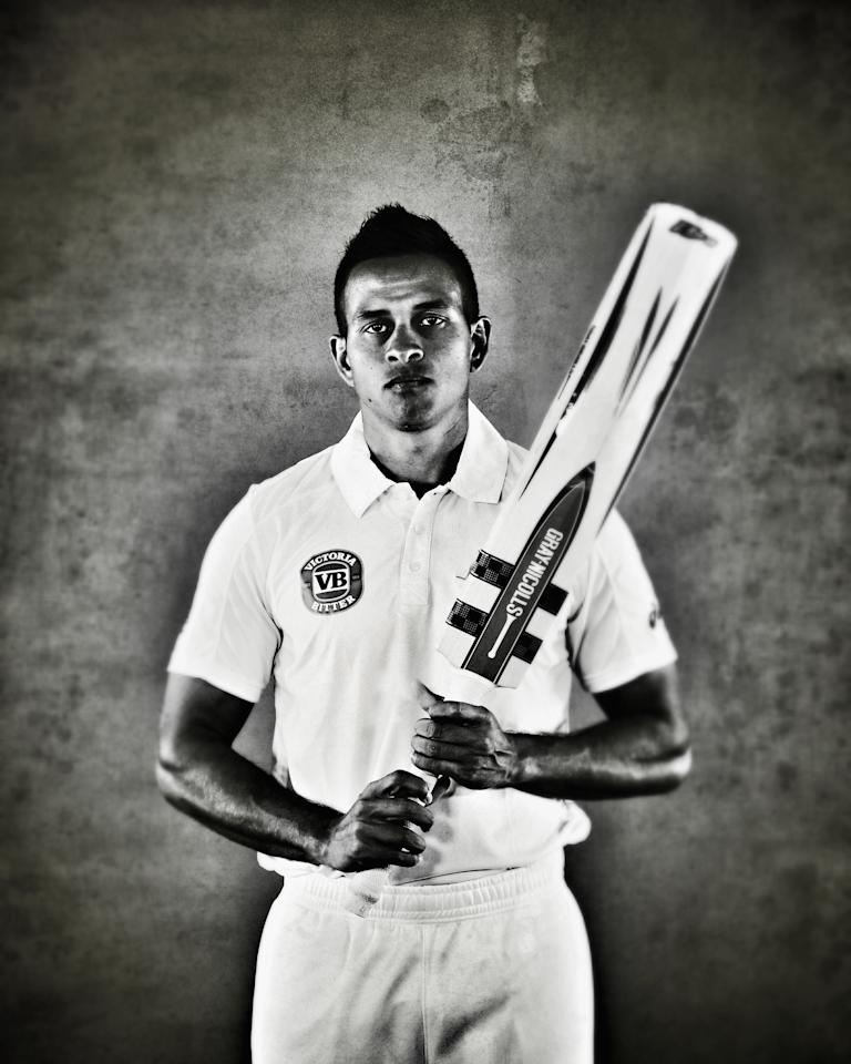 WORCESTER, ENGLAND - JULY 01:  (EDITORS NOTE: This image was processed using digital filters) Usman Khawaja of Australia poses on July 1, 2013 in Worcester, England.  (Photo by Ryan Pierse/Getty Images)
