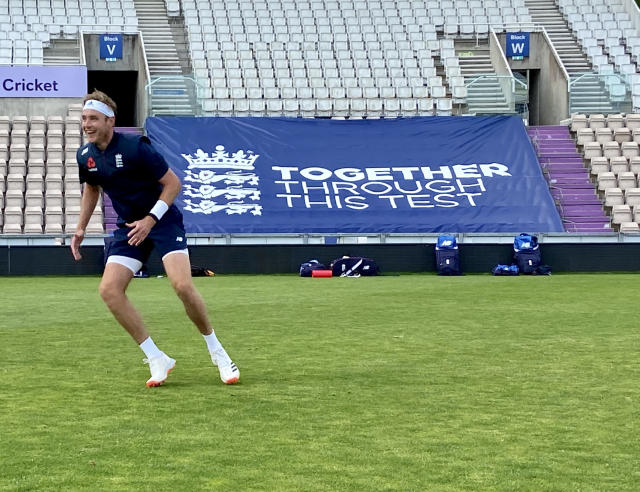 Stuart Broad trains ahead of the Test series against the West Indies (England and Wales Cricket Board/Handout)