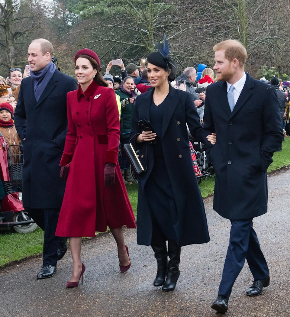 KING'S LYNN, ENGLAND - DECEMBER 25: Prince William, Duke of Cambridge, Catherine, Duchess of Cambridge, Meghan, Duchess of Sussex and Prince Harry, Duke of Sussex attend Christmas Day Church service at Church of St Mary Magdalene on the Sandringham estate on December 25, 2018 in King's Lynn, England. (Photo by Samir Hussein/WireImage)