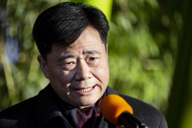 09 December 2019, Berlin: Wu Ken, Chinese ambassador to Germany, speaks at the announcement of the names and sex of the panda twins at Berlin Zoo. The panda twin males are called Meng Yuan and Meng Xiang. Photo: Christoph Soeder/dpa (Photo by Christoph Soeder/picture alliance via Getty Images)