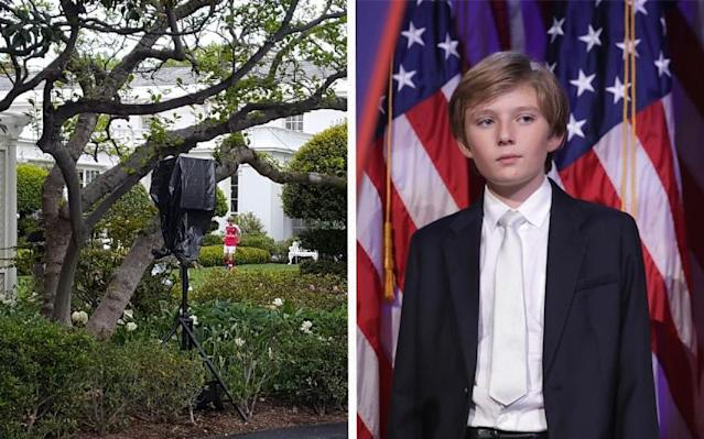 Barron Trump plays football on the White House lawn  - Getty Images @danasdirt Twitter