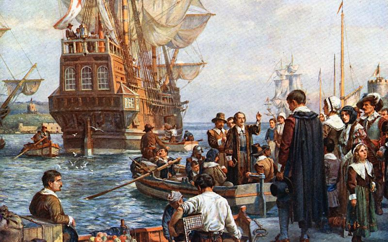 Pilgrims boarding the Mayflower for their voyage to America
