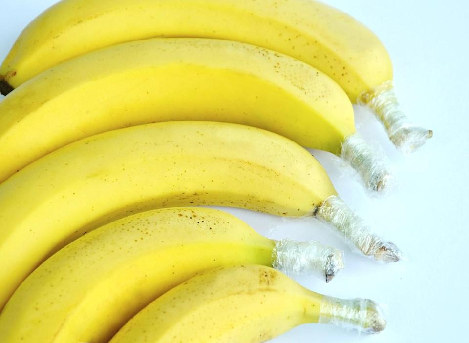 bananas with individually wrapped stems