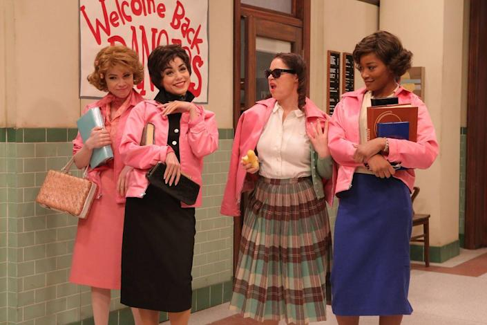 """<p>Transform your girl gang into the Pink Ladies from <em>Grease</em> by donning pink jackets and shades. </p><p><a class=""""link rapid-noclick-resp"""" href=""""https://www.amazon.com/Womens-Vintage-Jacket-Costume-Adults/dp/B08DQ4862Y?tag=syn-yahoo-20&ascsubtag=%5Bartid%7C10070.g.3083%5Bsrc%7Cyahoo-us"""" rel=""""nofollow noopener"""" target=""""_blank"""" data-ylk=""""slk:SHOP PINK JACKETS"""">SHOP PINK JACKETS</a></p>"""