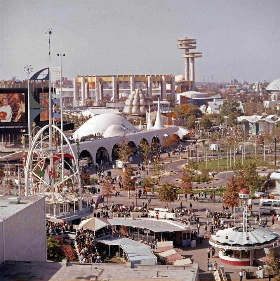 """<p>The World's Fair was hosted in Queens, New York, from 1964 to 1965. The fair (<a href=""""https://www.bie-paris.org/site/en/about-world-expos"""" rel=""""nofollow noopener"""" target=""""_blank"""" data-ylk=""""slk:which still goes on today under a new name"""" class=""""link rapid-noclick-resp"""">which still goes on today under a new name</a>) held exhibitions showcasing advancements in technology, achievements of nations and a Dinoland. 51 million people attended the World's Fair and some of its remnants can still be found in Queens. </p>"""