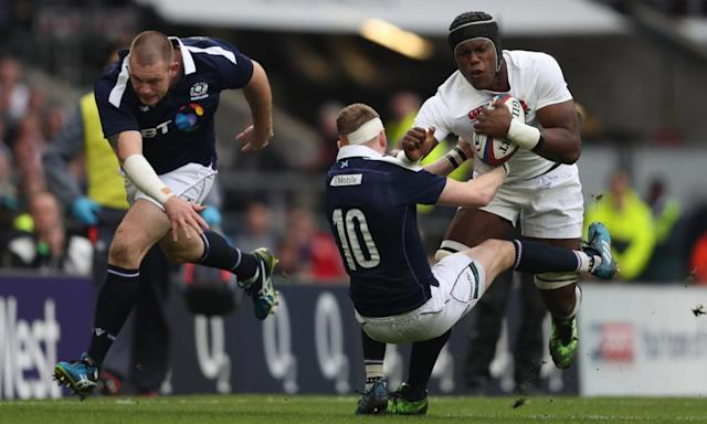 """<span class=""""element-image__caption"""">Maro Itoje sees off Finn Russell during what was a disappointing day for Scotland.</span> <span class=""""element-image__credit"""">Photograph: Rachel Holborn/CameraSport via Getty Images</span>"""